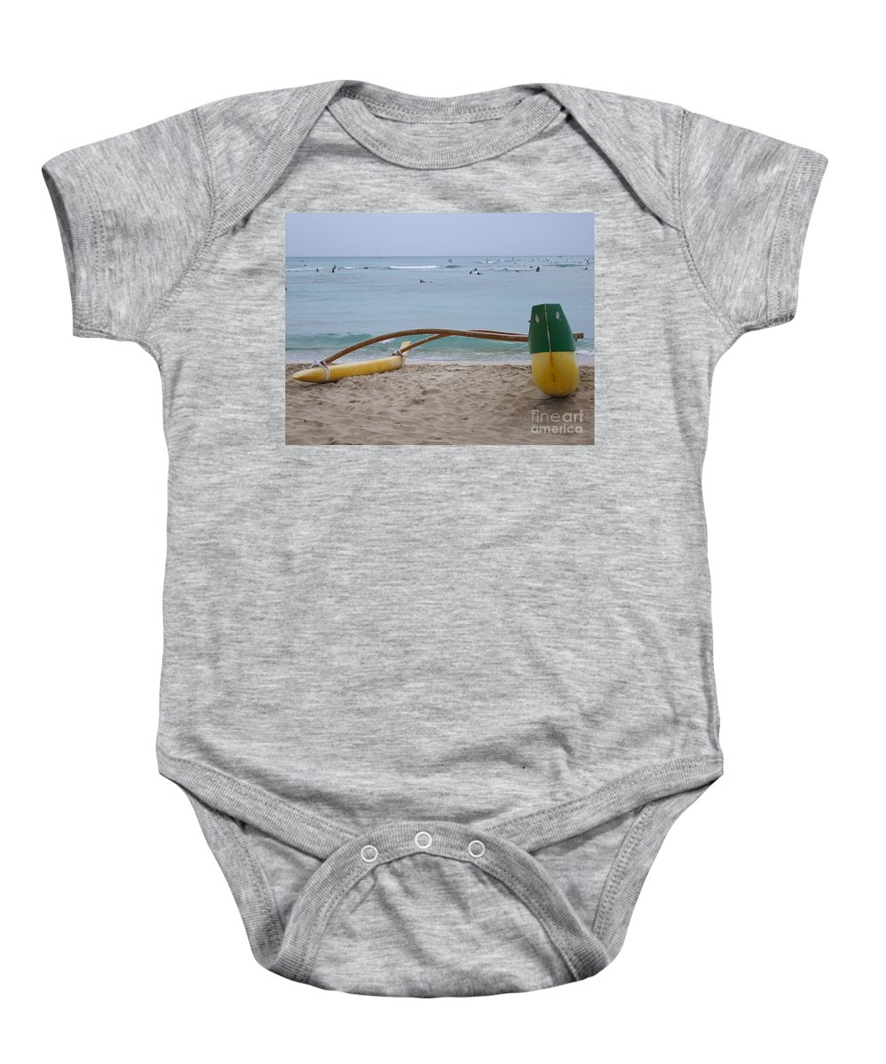 Ocean Baby Onesie featuring the photograph Beach Play by Mary Deal