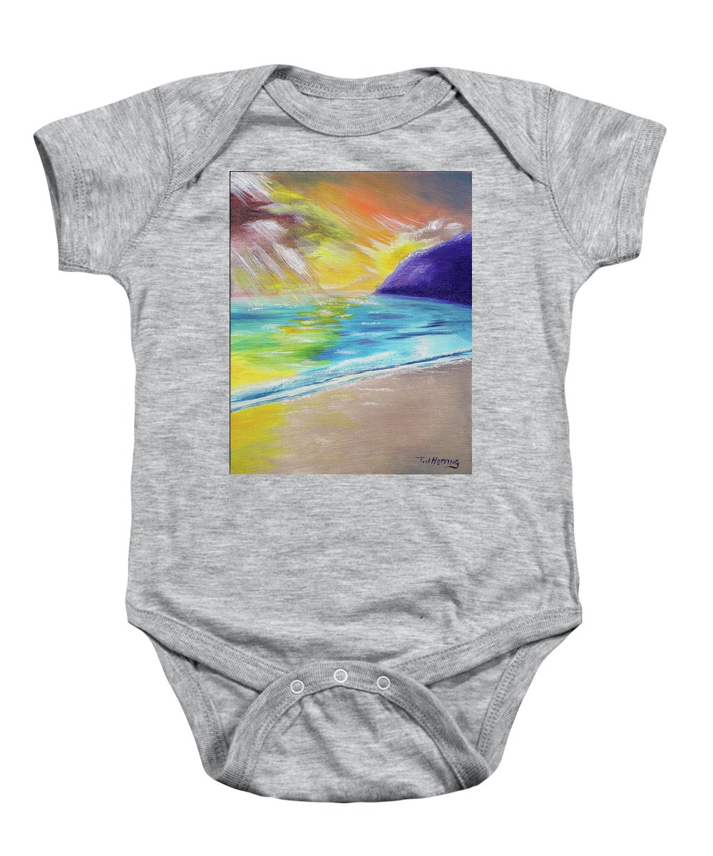Landscape Baby Onesie featuring the painting Beach Reflection by Thomas J Herring