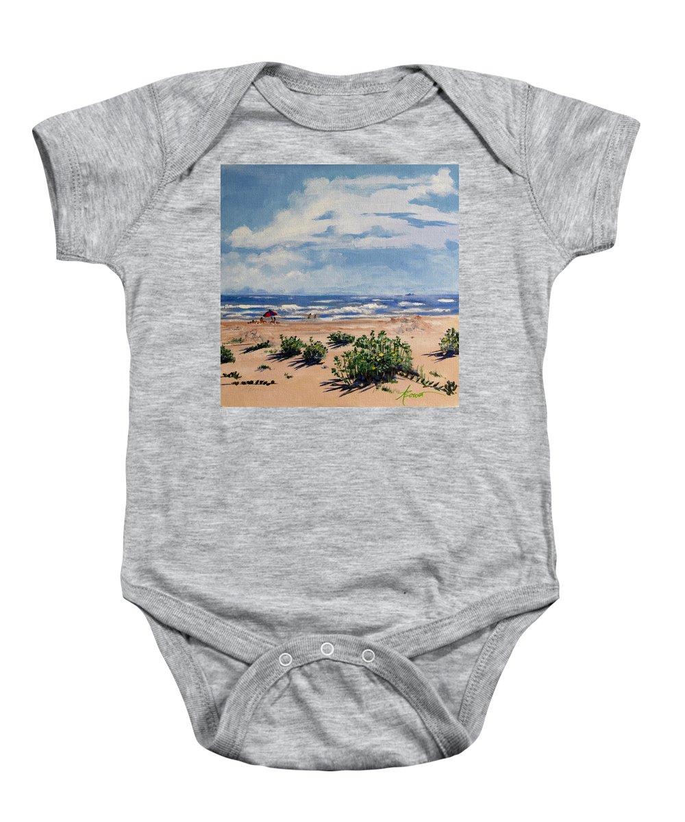 Beach Baby Onesie featuring the painting Beach Scene On Galveston Island by Adele Bower