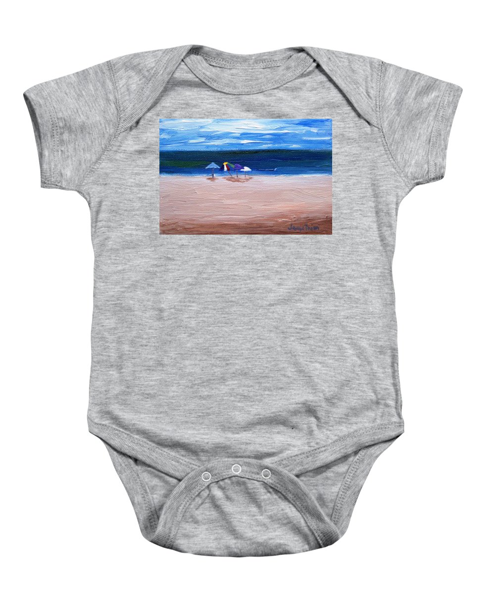 Beach Baby Onesie featuring the painting Beach Umbrellas by Jamie Frier