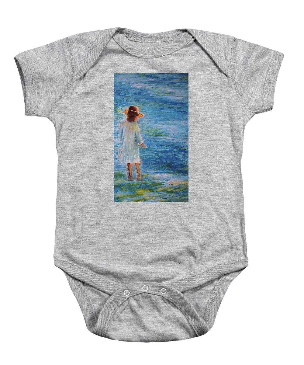Water Baby Onesie featuring the painting Beach Walker by John Scates