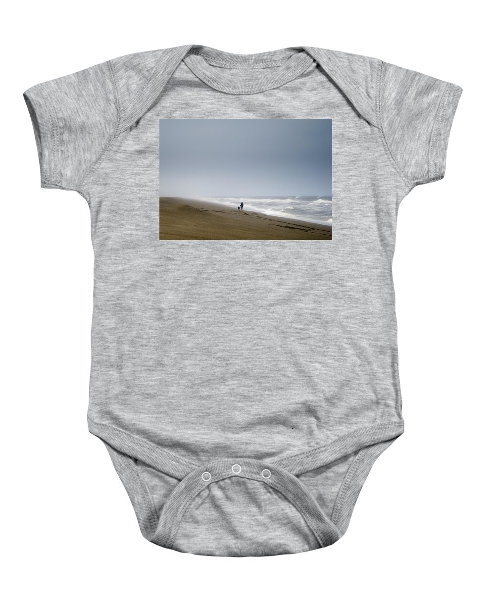 Dog Baby Onesie featuring the photograph Beach Woman Dog Waves by Helix Games Photography