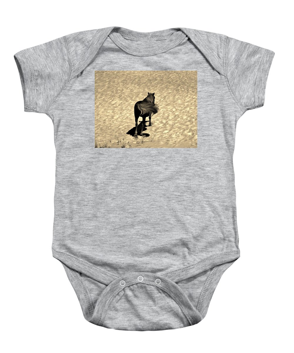 Pony Baby Onesie featuring the photograph Beachcomber by Bob Geary