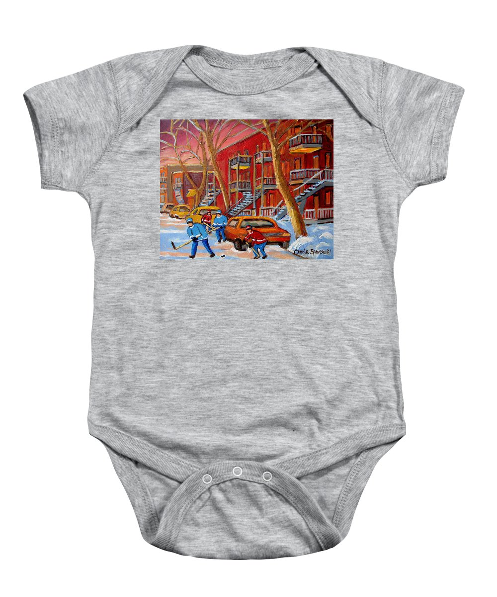 Baby Onesie featuring the painting Beautiful Day For Hockey by Carole Spandau