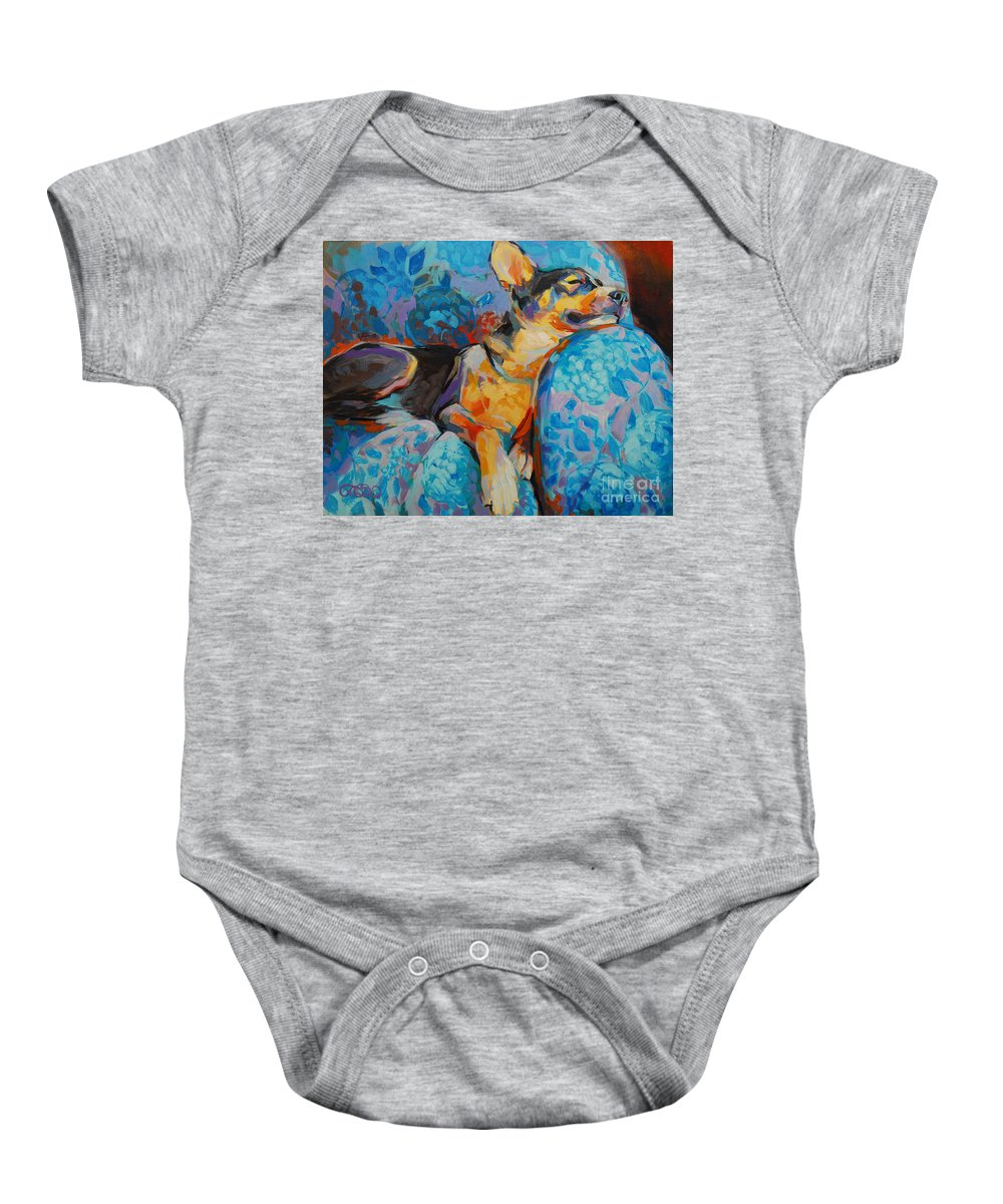 Mixed Breed Baby Onesie featuring the painting Beauty Rest by Kimberly Santini