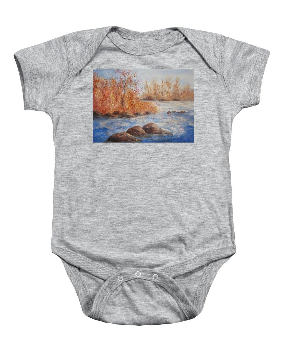 Autumn Baby Onesie featuring the painting Beaver Pond by Ellen Levinson