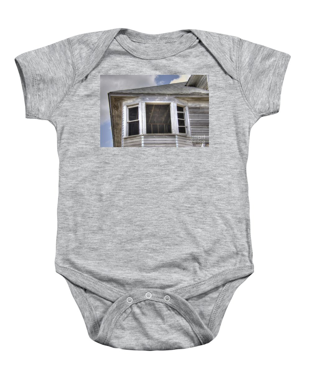 Abandoned Baby Onesie featuring the photograph Behind That Window.... by M Dale