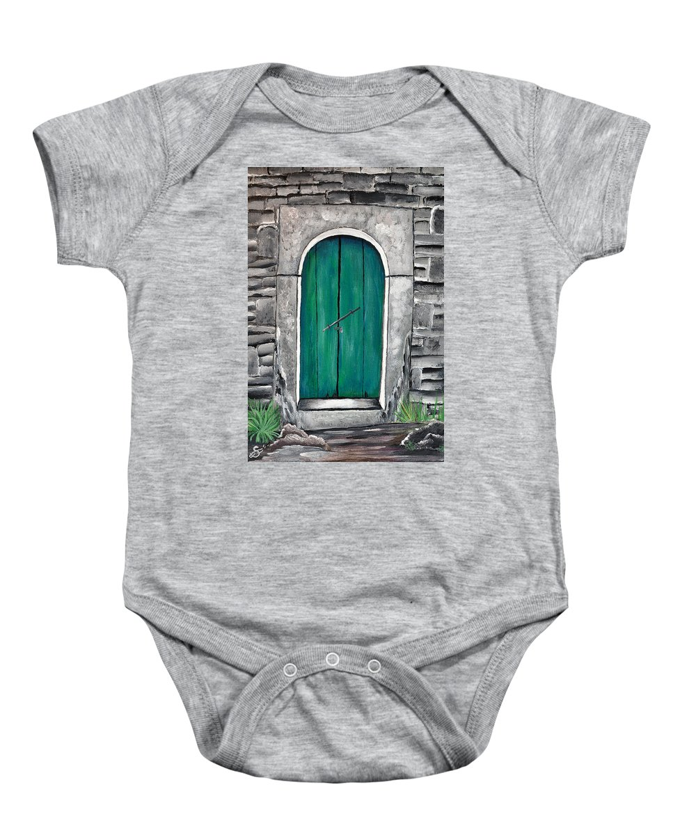 Baby Onesie featuring the painting Behind The Green Door by Sherry Allen
