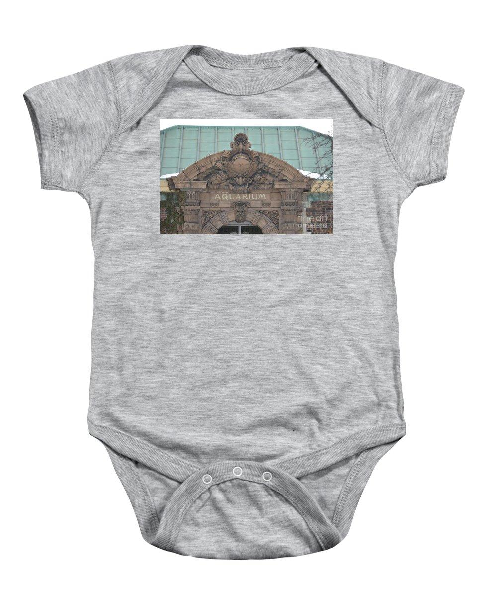 Detroit Baby Onesie featuring the photograph Belle Isle Aquarium Entrance 1 by Randy J Heath