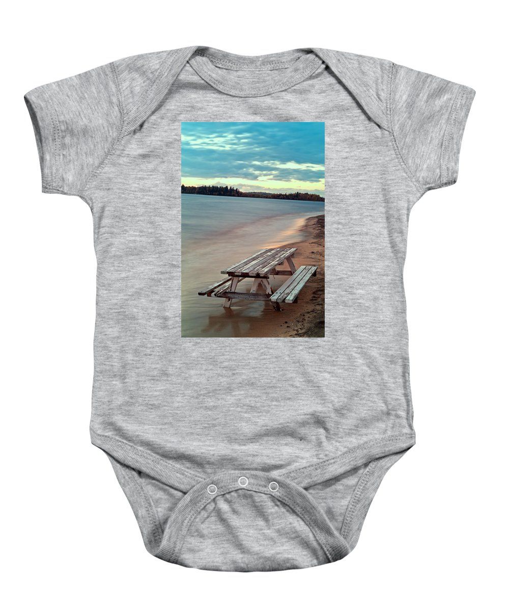 Abstract Baby Onesie featuring the photograph Bench And Table by U Schade