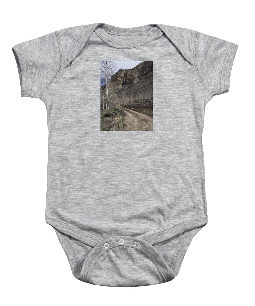Scenic Baby Onesie featuring the photograph Bend In The Road - Waterfalls by Mike and Sharon Mathews