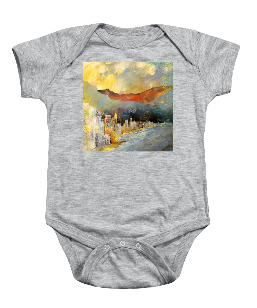 Landscapes Baby Onesie featuring the painting Benidorm 01 by Miki De Goodaboom