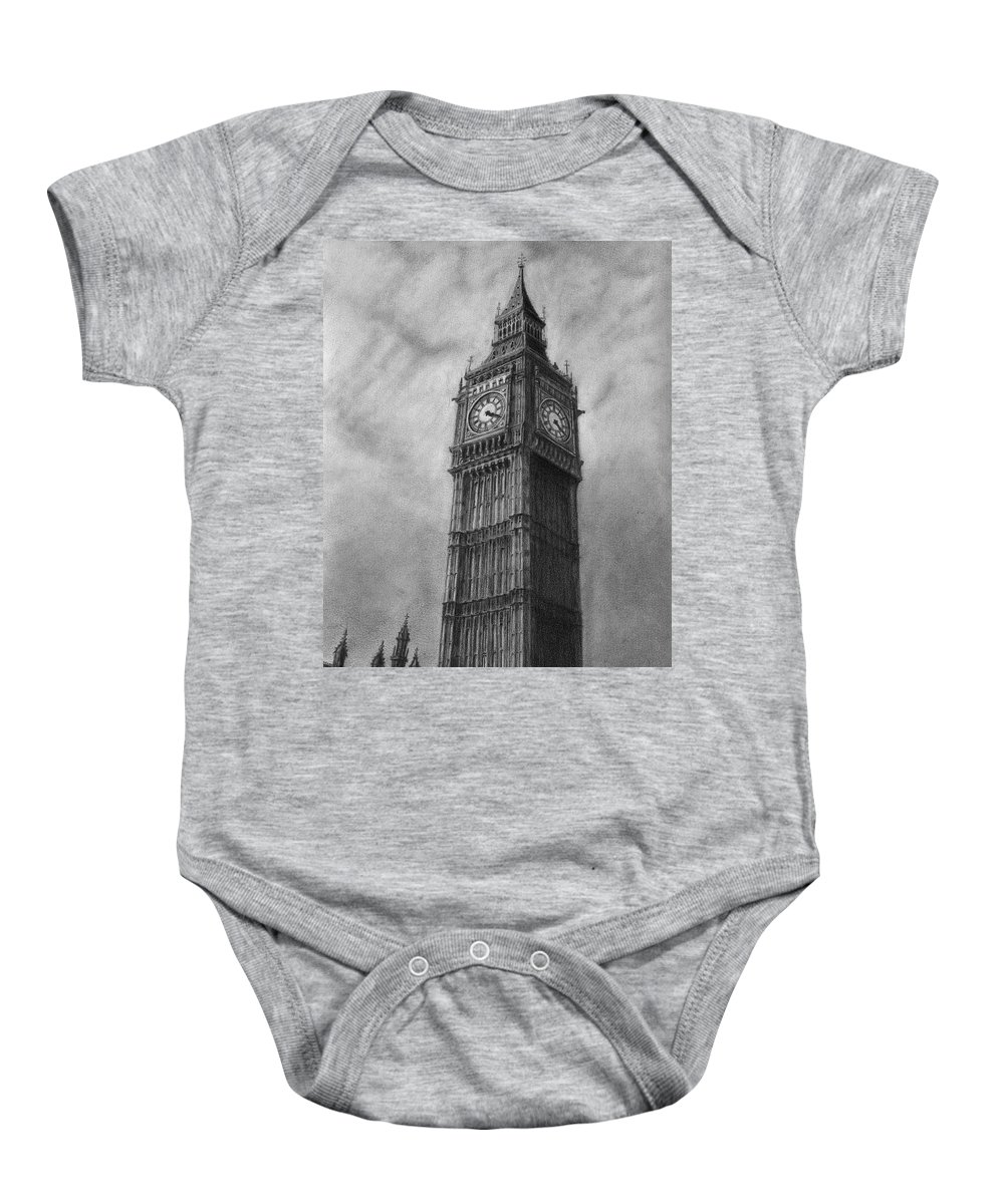 Big Ben Baby Onesie featuring the drawing Big Ben London by David Rives