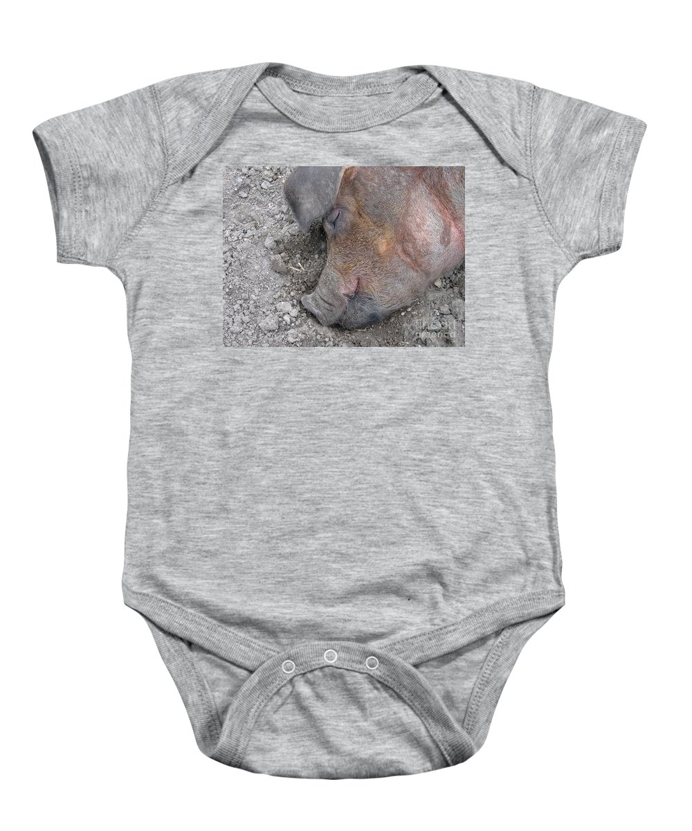 Pig Baby Onesie featuring the photograph Big Dreamer by Ann Horn