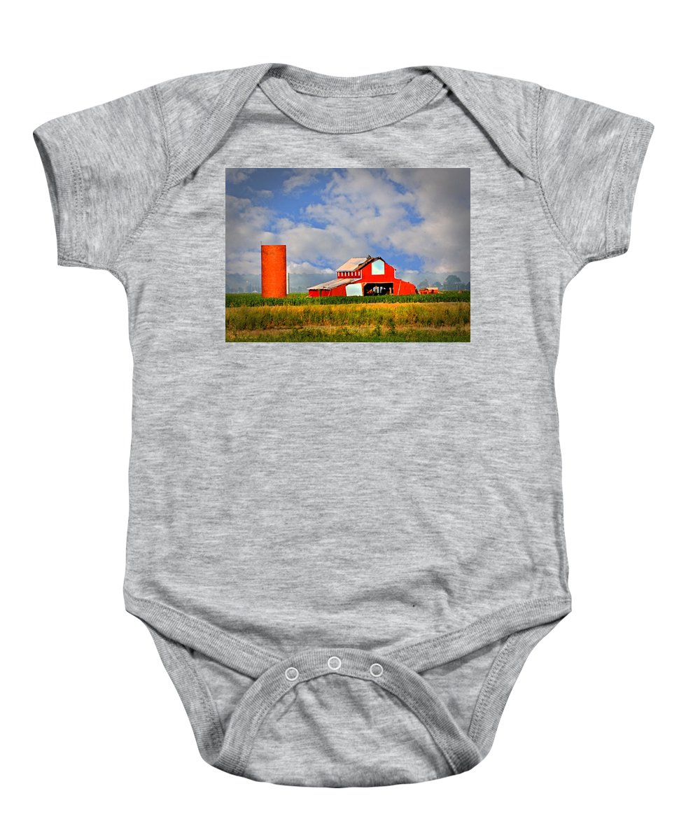 Barn Baby Onesie featuring the photograph Big Red Barn by Marty Koch
