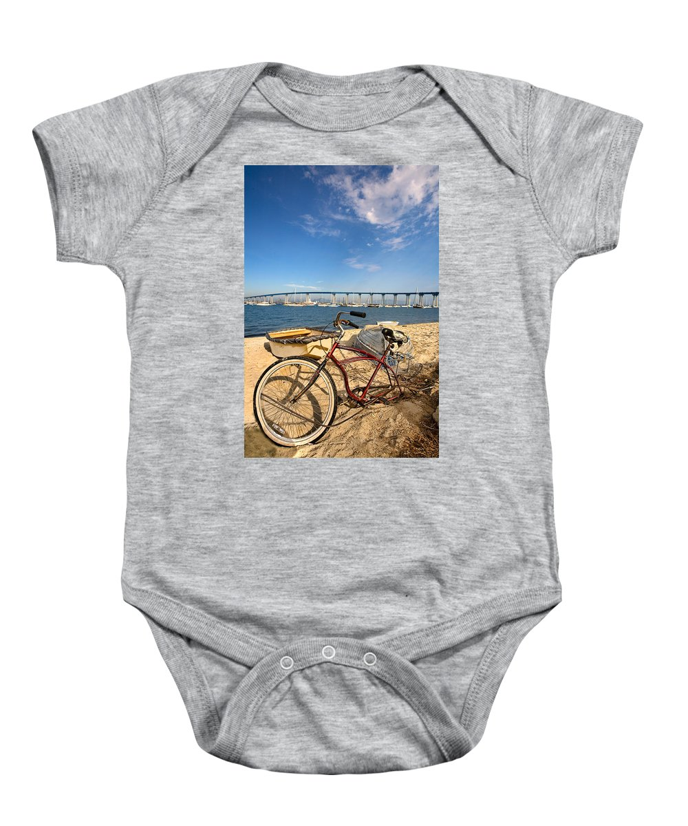 Beach Baby Onesie featuring the photograph Bike And A Brdige by Peter Tellone