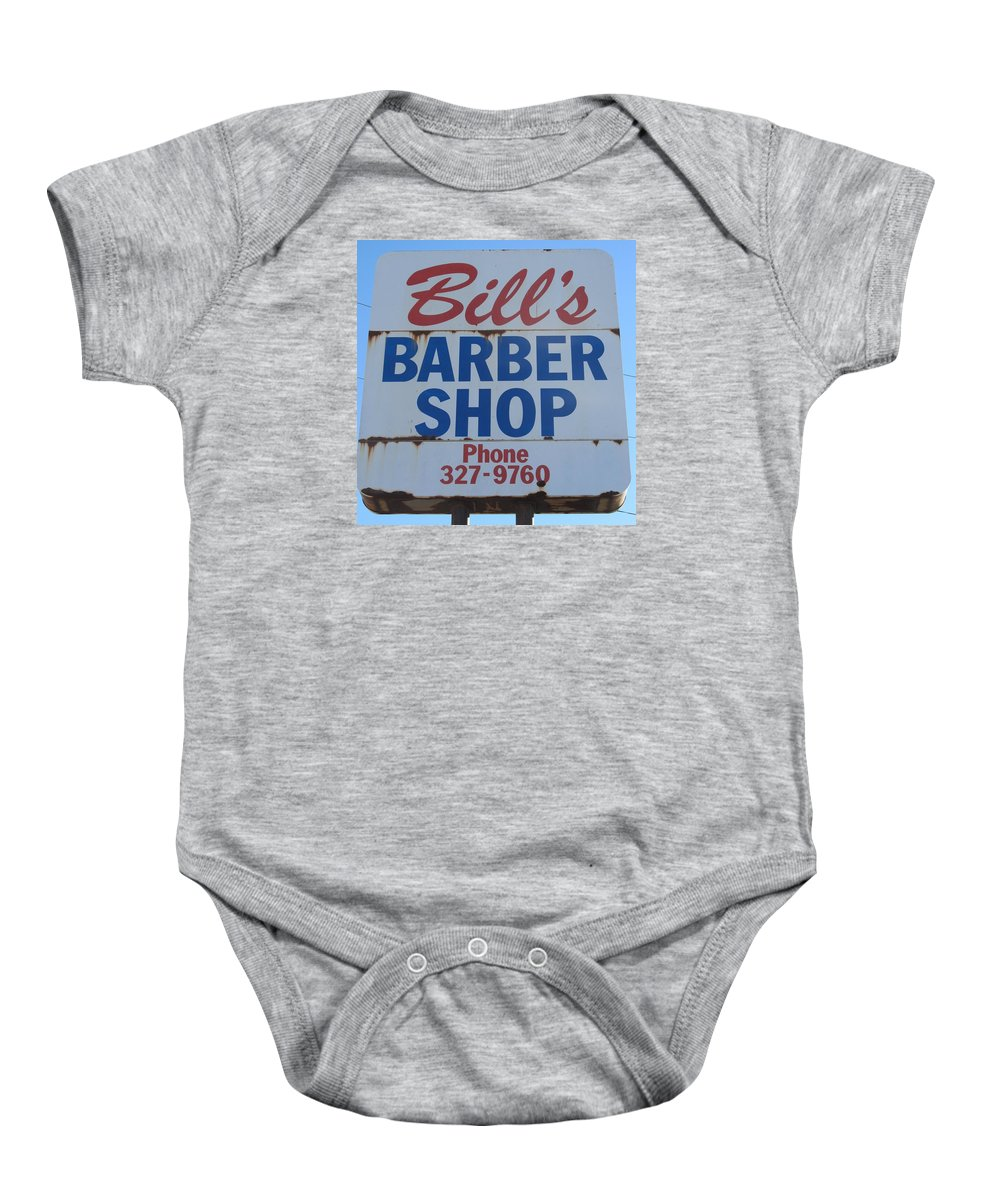 Barber Shops Baby Onesie featuring the photograph Bill's Barber Shop by Donna Wilson