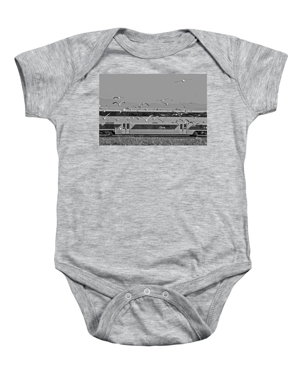 Birds Baby Onesie featuring the photograph Bird Train Alviso 2 by SC Heffner
