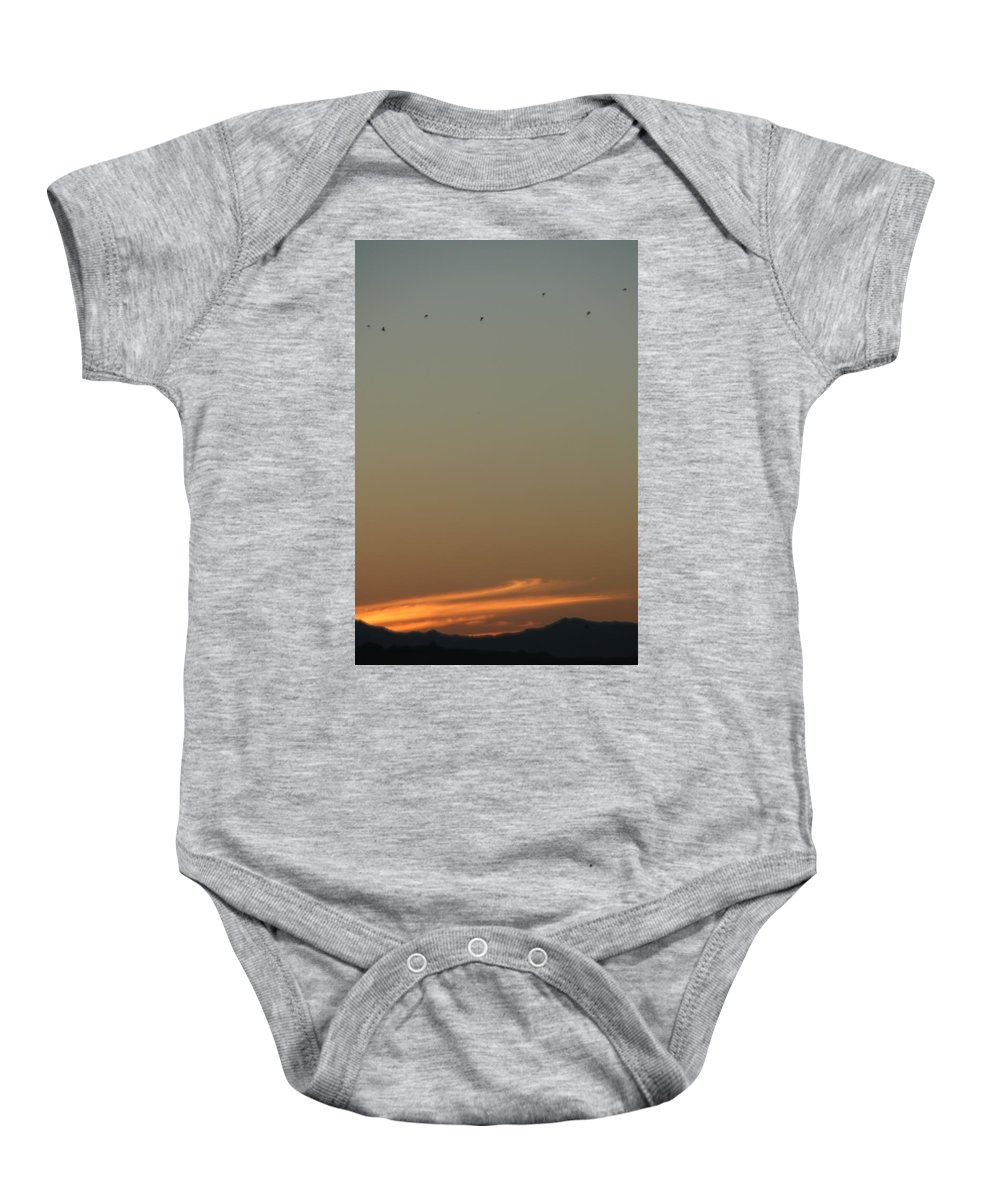 Birds Baby Onesie featuring the photograph Birds At Sunset by David S Reynolds