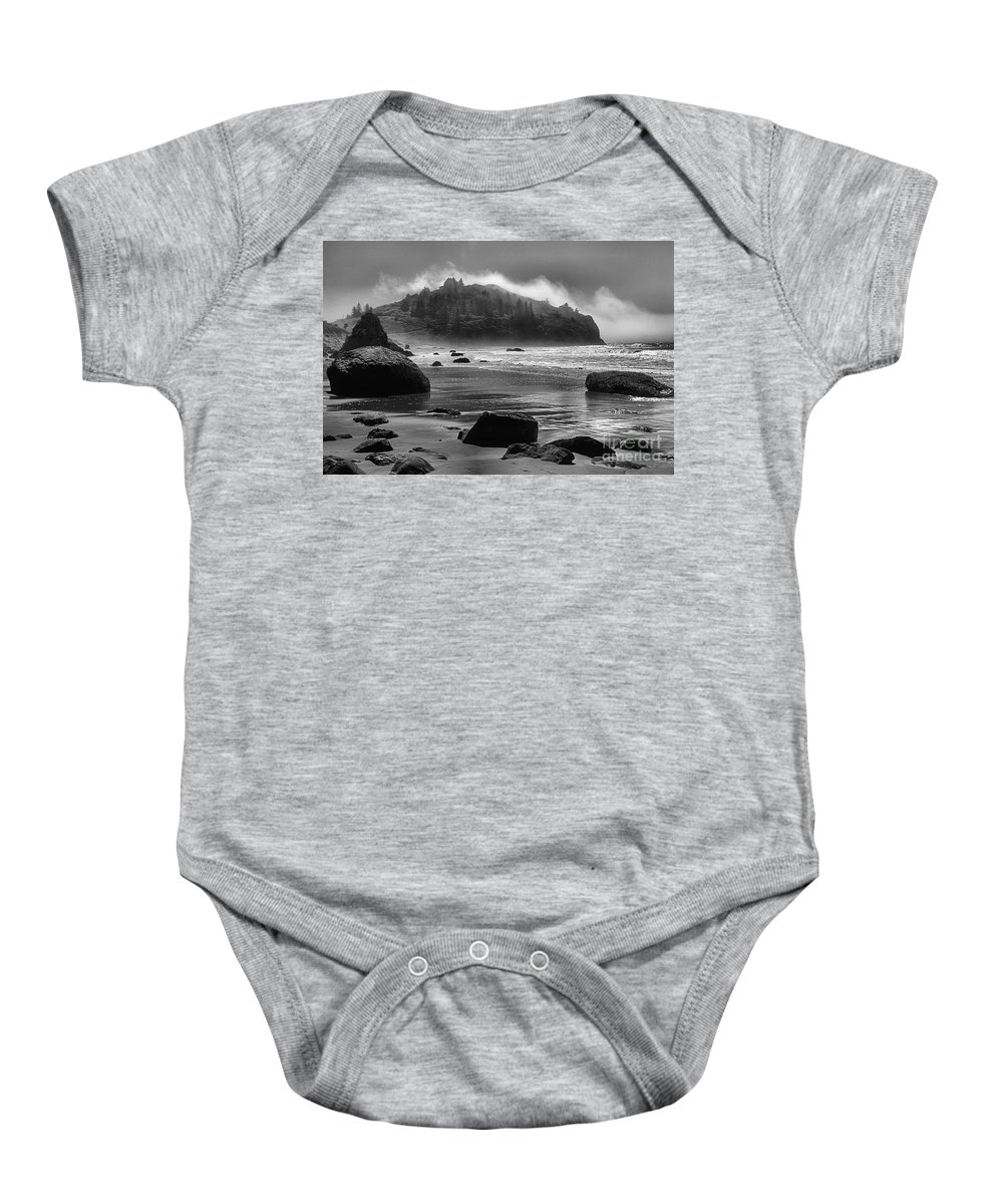 Trinidad Beach Baby Onesie featuring the photograph Black And White At Trinidad by Adam Jewell