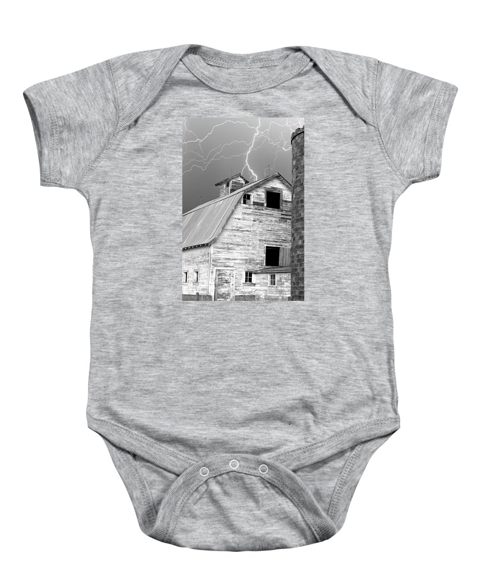 Lightning Baby Onesie featuring the photograph Black and white Old Barn Lightning Strikes by James BO Insogna