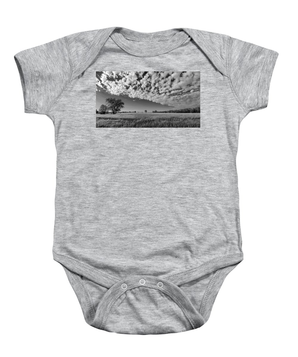 Black And White Baby Onesie featuring the photograph Black And White Wheat Field by Eric Benjamin