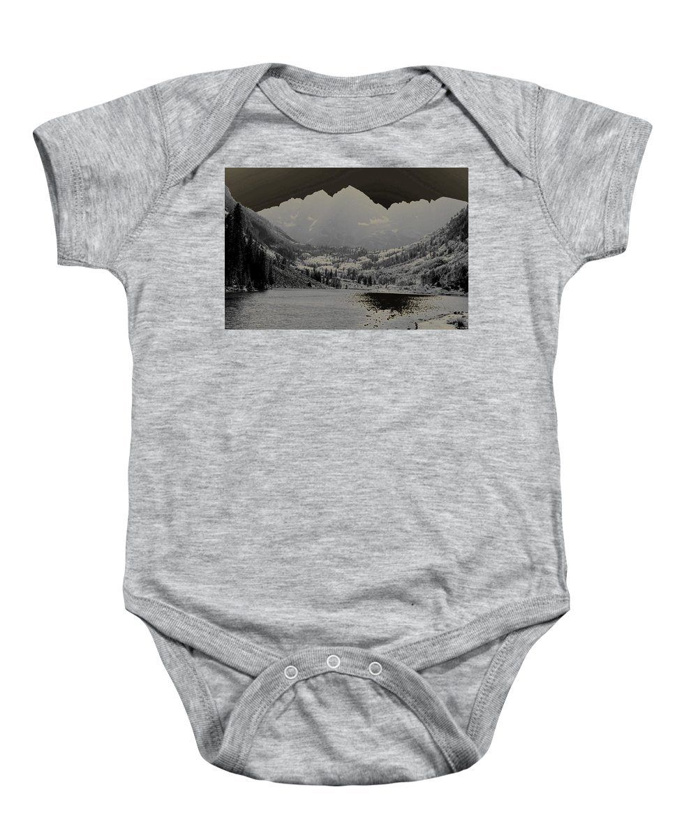 Maroon Bells Baby Onesie featuring the photograph Black Bells by Jeremy Rhoades