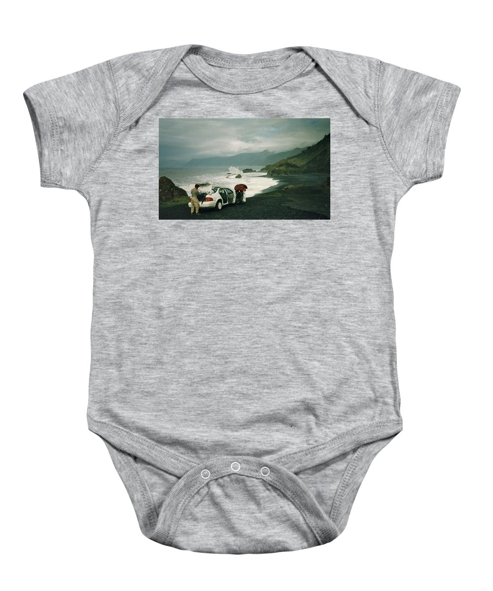 Spectacular Baby Onesie featuring the photograph Black Sands Beach by Susan Wyman
