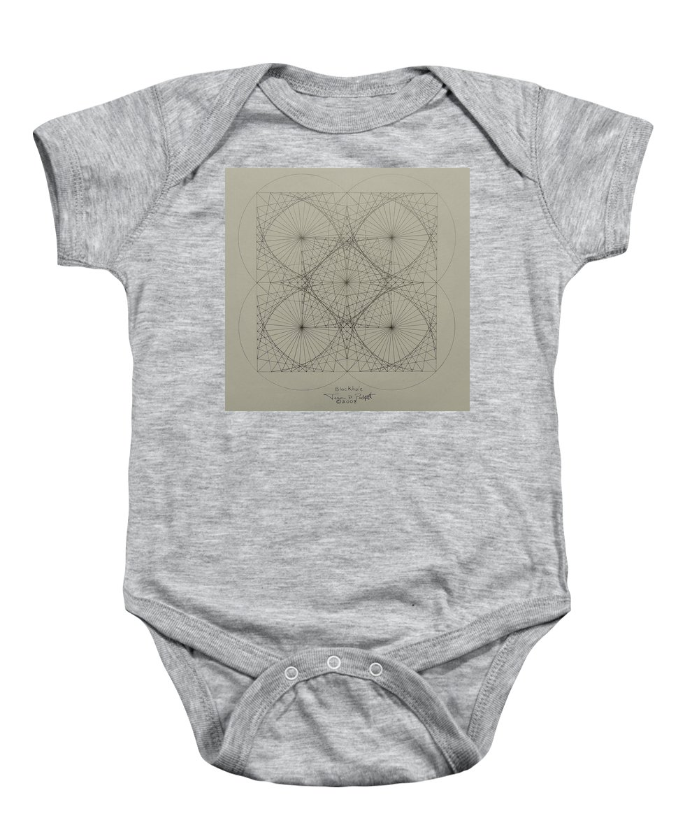 Fractals Baby Onesie featuring the drawing Blackhole by Jason Padgett