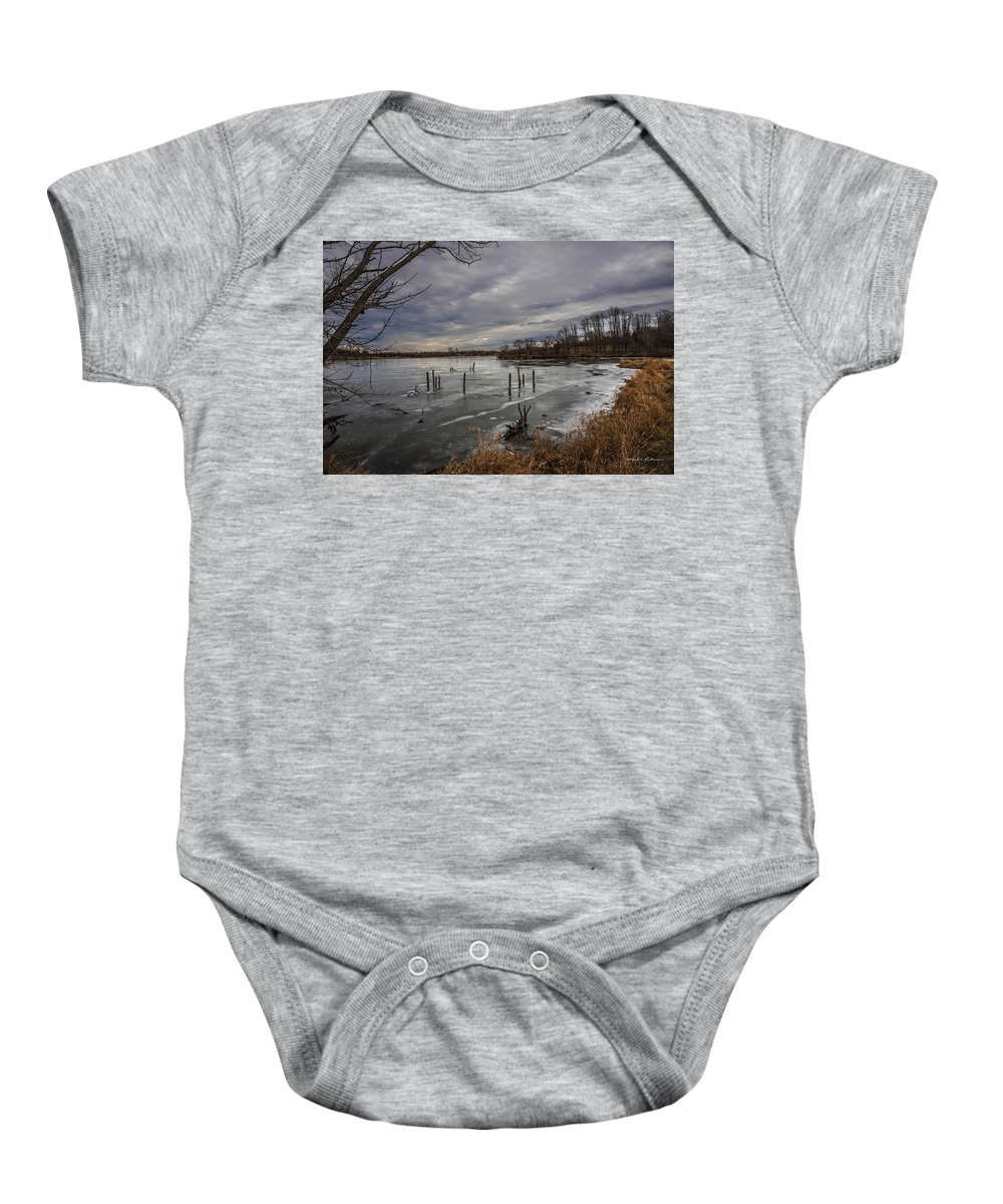 Standing Bear Lake Baby Onesie featuring the photograph Blue Day by Edward Peterson