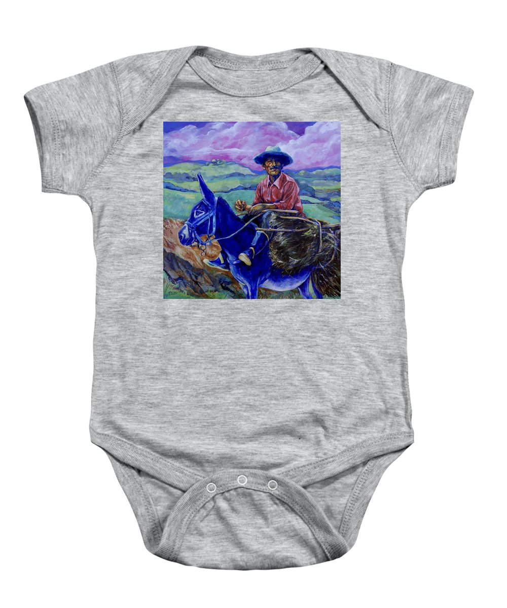 Donkey Baby Onesie featuring the painting Blue Donkey by Derrick Higgins