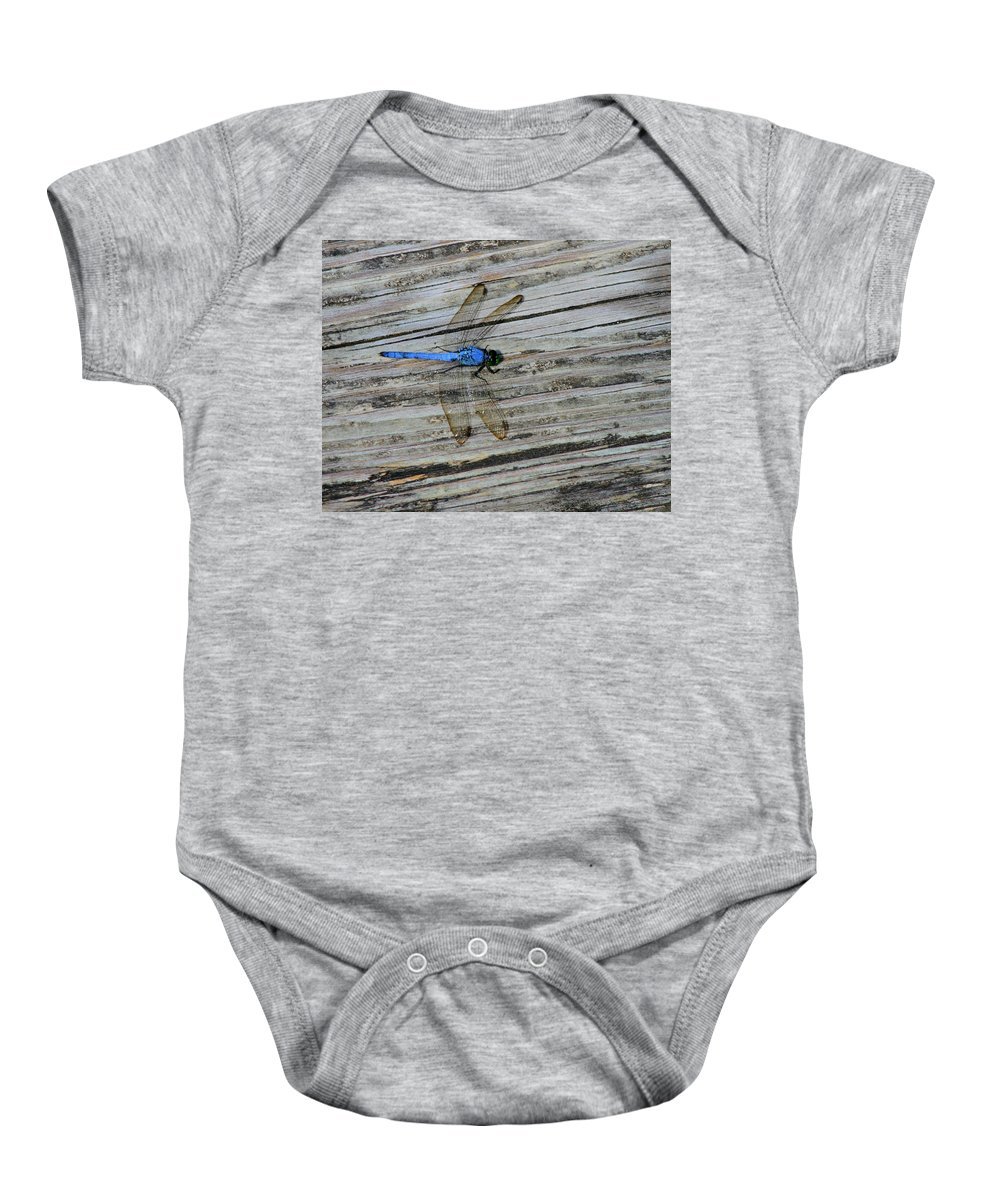 Dragonfly Photograph Baby Onesie featuring the photograph Blue Dragonfly by Dan Sproul
