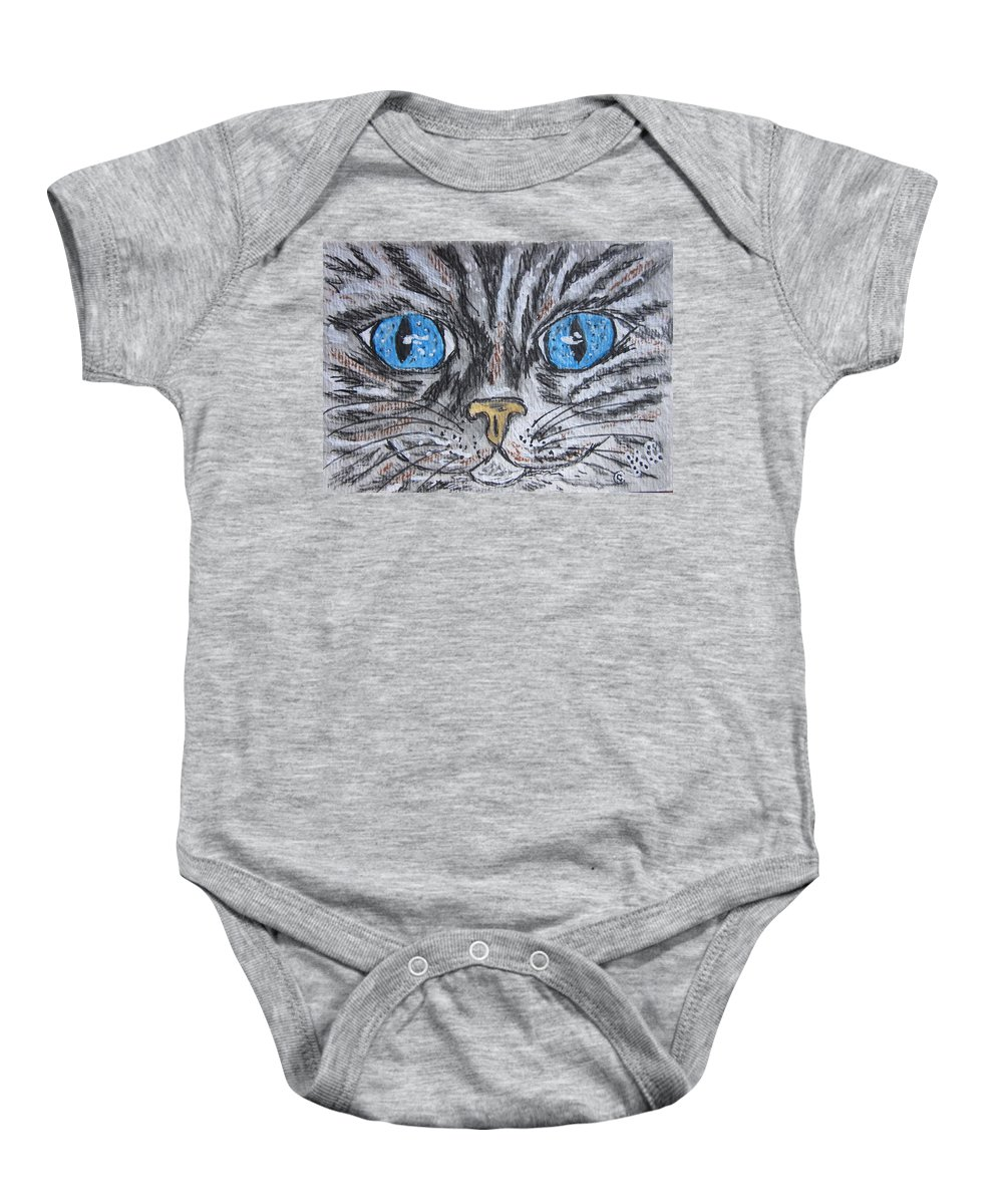 Blue Eyes Baby Onesie featuring the painting Blue Eyed Stripped Cat by Kathy Marrs Chandler