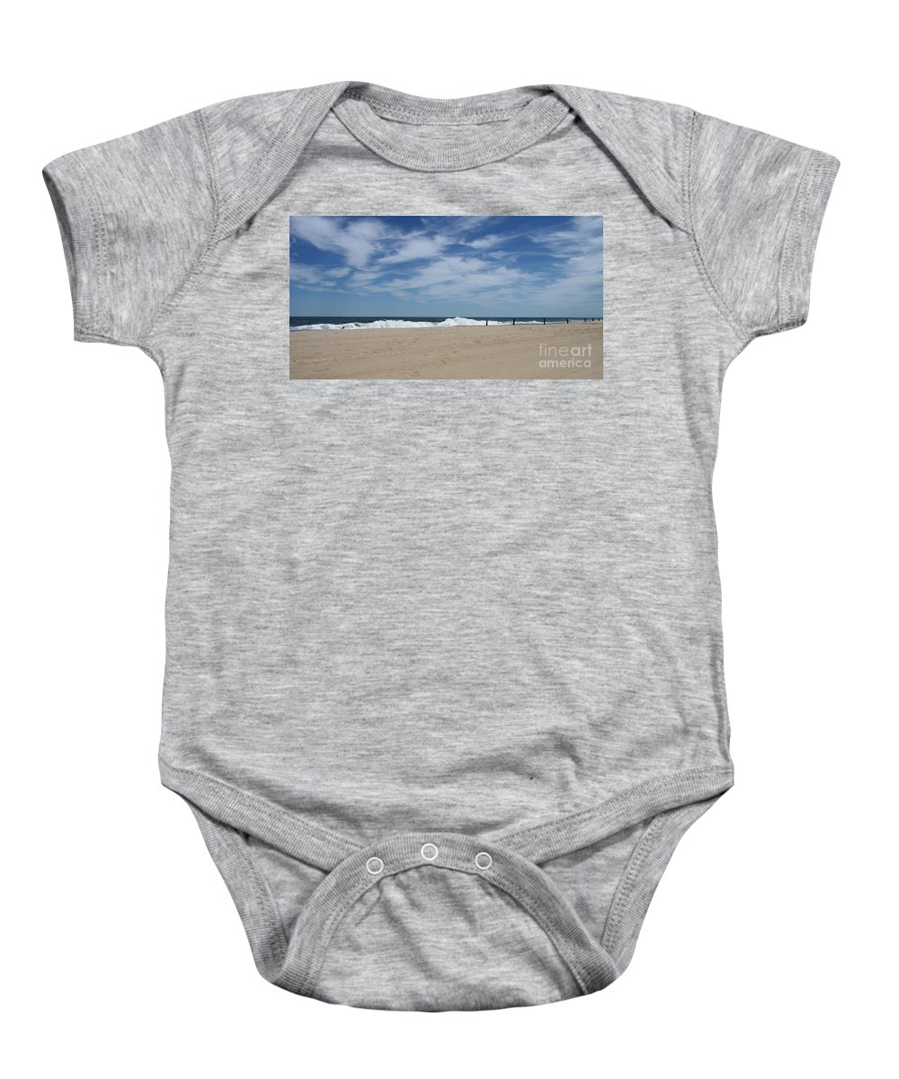 Blue Sky Baby Onesie featuring the photograph Blue Sky And Waves by Christiane Schulze Art And Photography