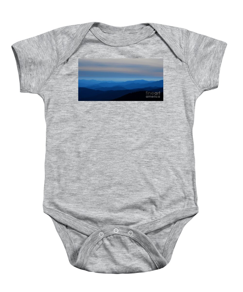 Mountains Baby Onesie featuring the photograph Blue Smokies at Dusk by Nancy Mueller