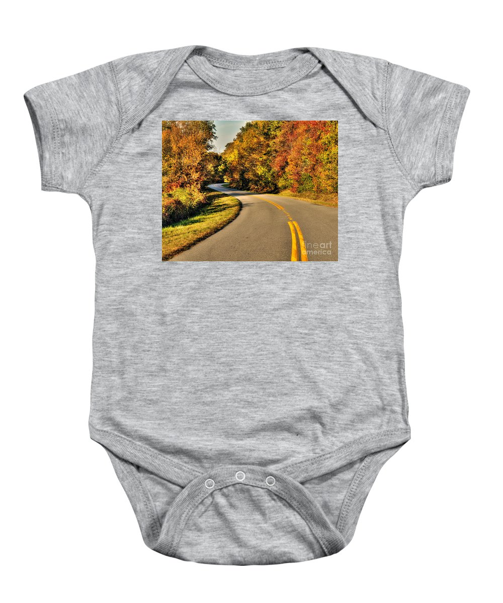 Blue Star Highway Baby Onesie featuring the photograph Blue Star Highway In Fall by Emily Kay