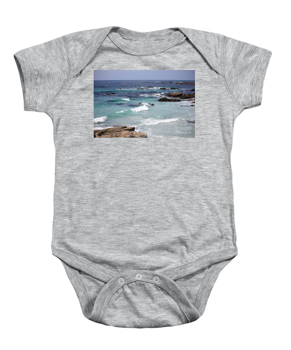 Blue Surf Baby Onesie featuring the photograph Blue Surf by Carol Groenen