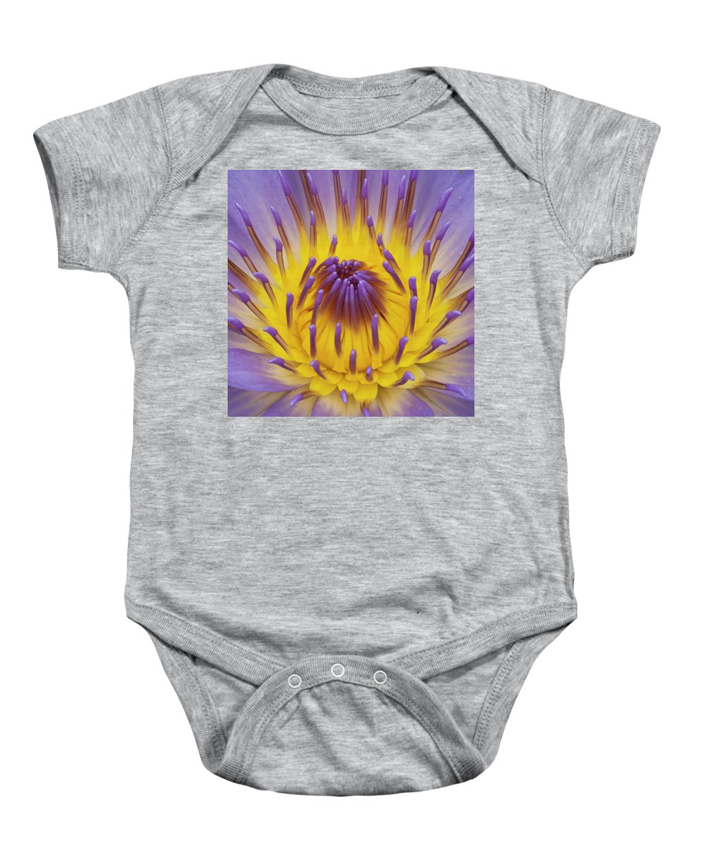 Water Lily Baby Onesie featuring the photograph Blue Water Lily by Heiko Koehrer-Wagner