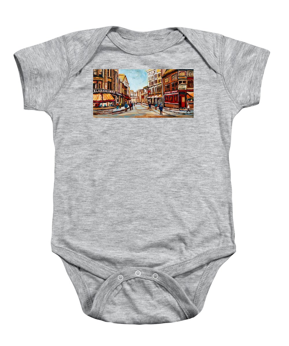 Montreal Baby Onesie featuring the painting Blumenthals On Craig Street by Carole Spandau