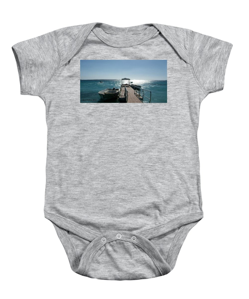 Ocean Baby Onesie featuring the painting Boat At The Peer by Bruce Nutting