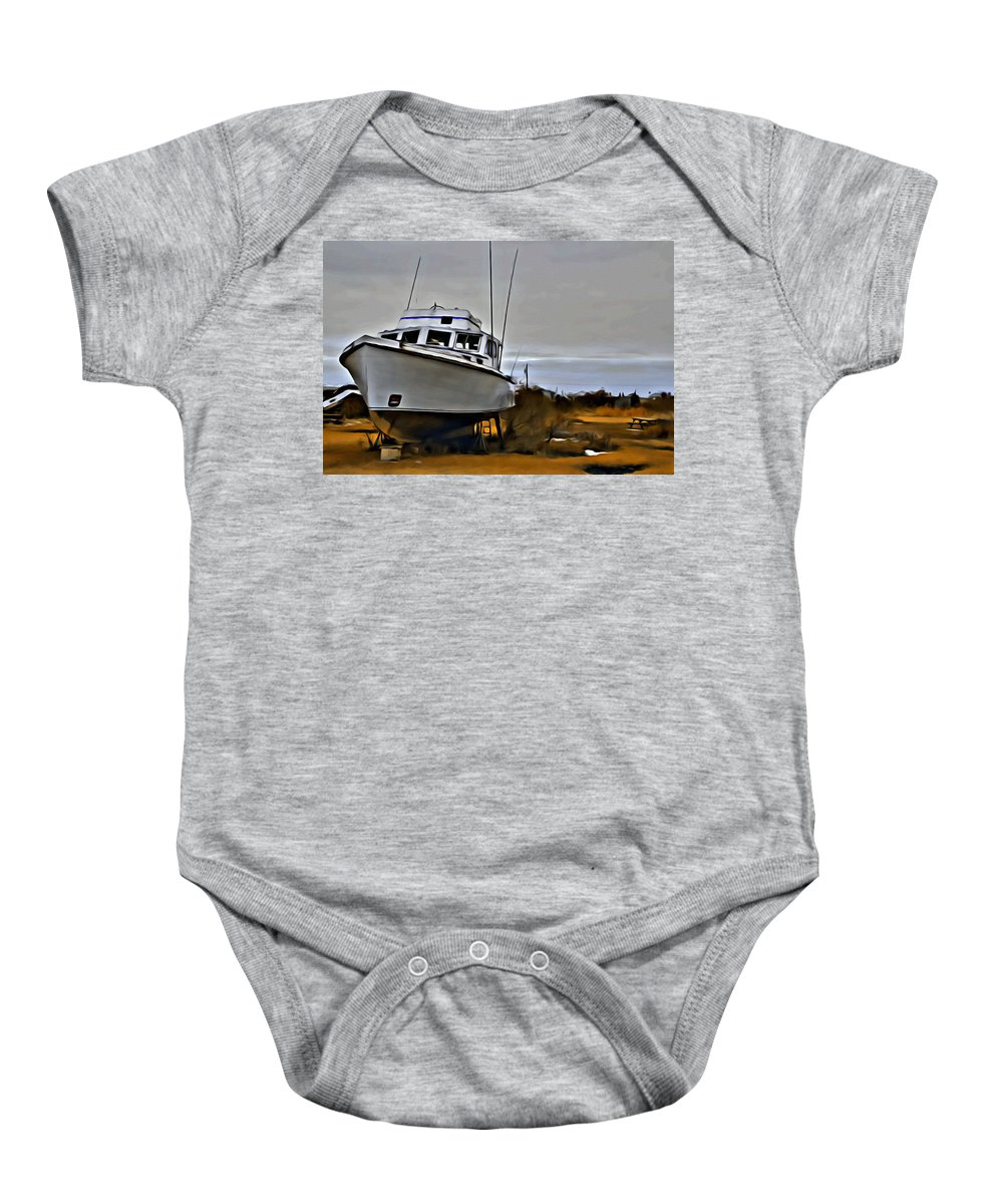 Boat Baby Onesie featuring the photograph Boat Out Of Water by Alice Gipson