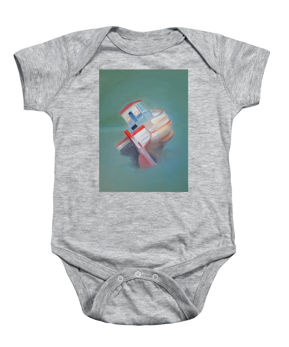Fishing Boat Baby Onesie featuring the painting Boat Retired Tavira by Charles Stuart