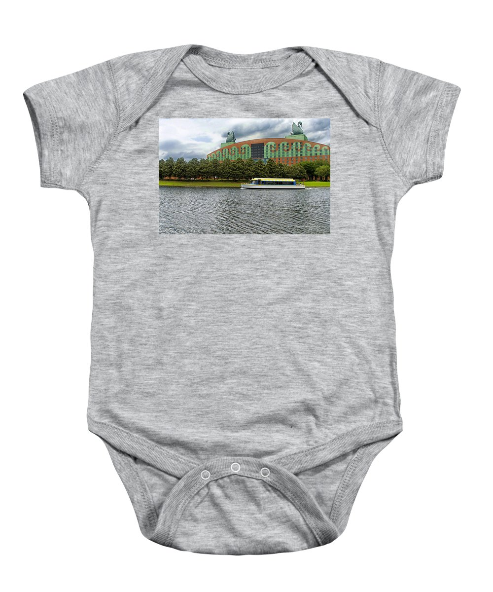 Swan Resort Baby Onesie featuring the photograph Boat Ride Past The Swan Resort Walt Disney World by Thomas Woolworth