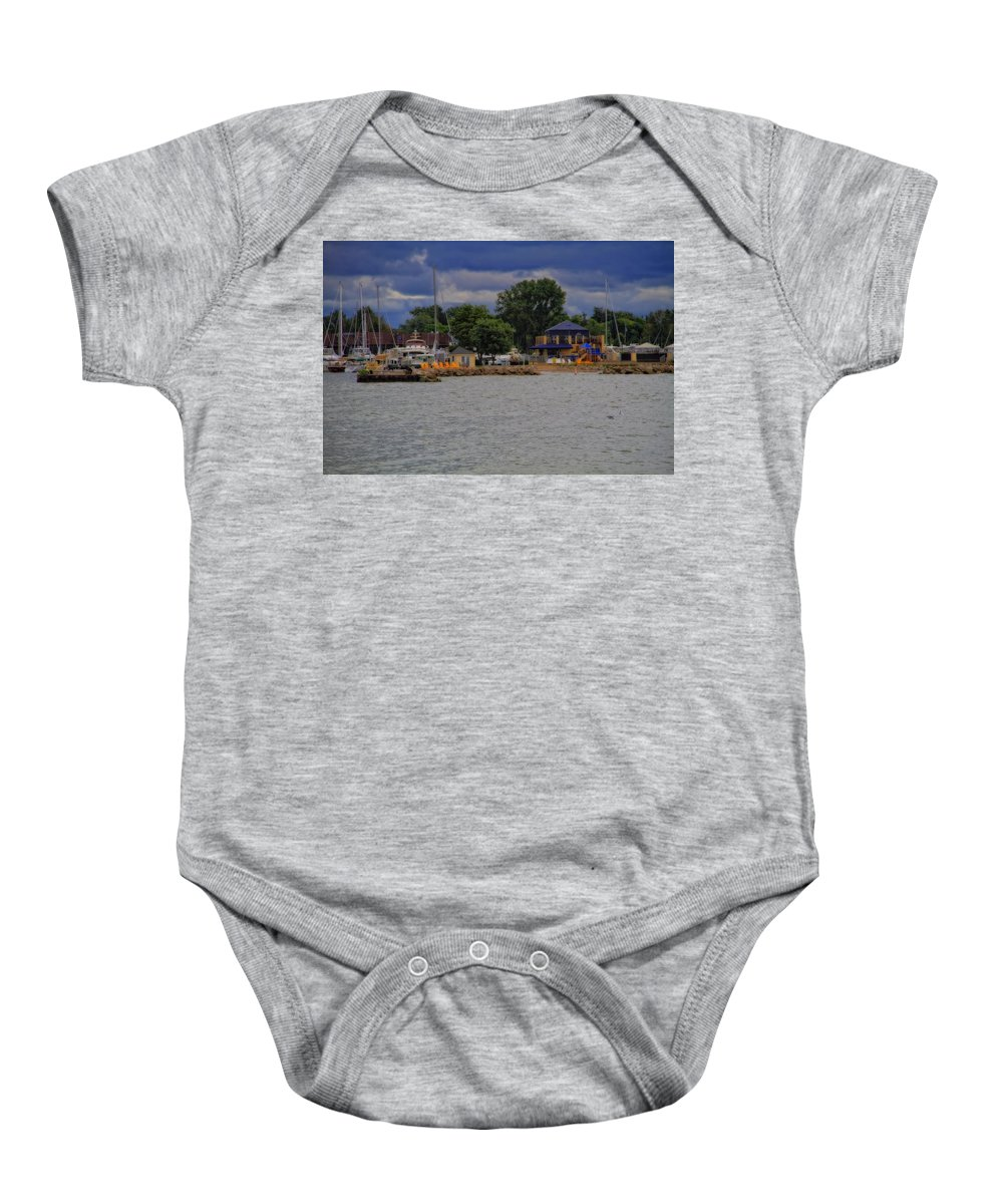 Boating On Lake Erie Baby Onesie featuring the photograph Boating On Lake Erie by Dan Sproul