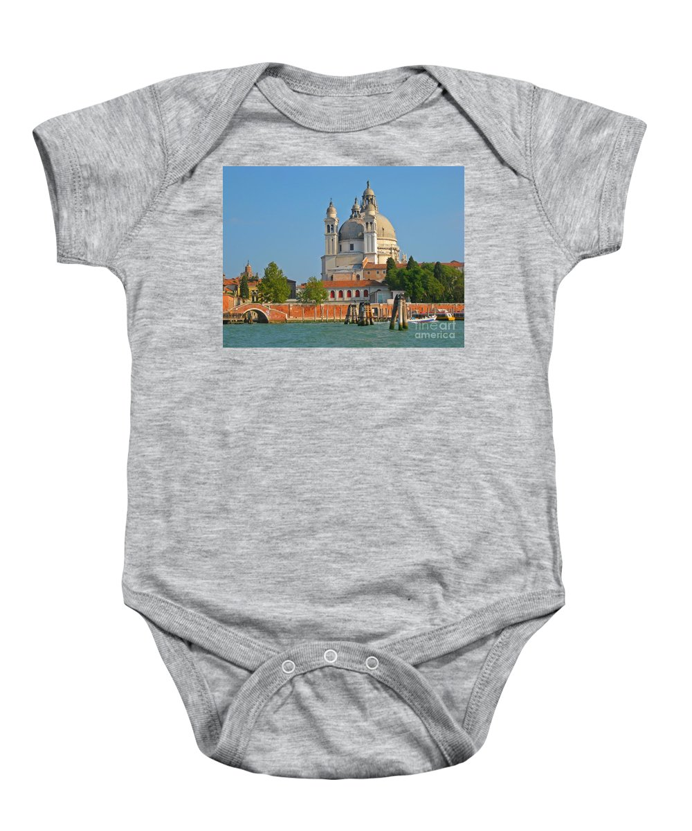 Famous Churches Baby Onesie featuring the photograph Boating Past Basilica Di Santa Maria Della Salute by John Malone