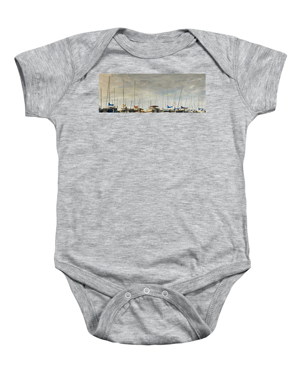 Boats Baby Onesie featuring the photograph Boats In Harbor Reflection by Peter v Quenter