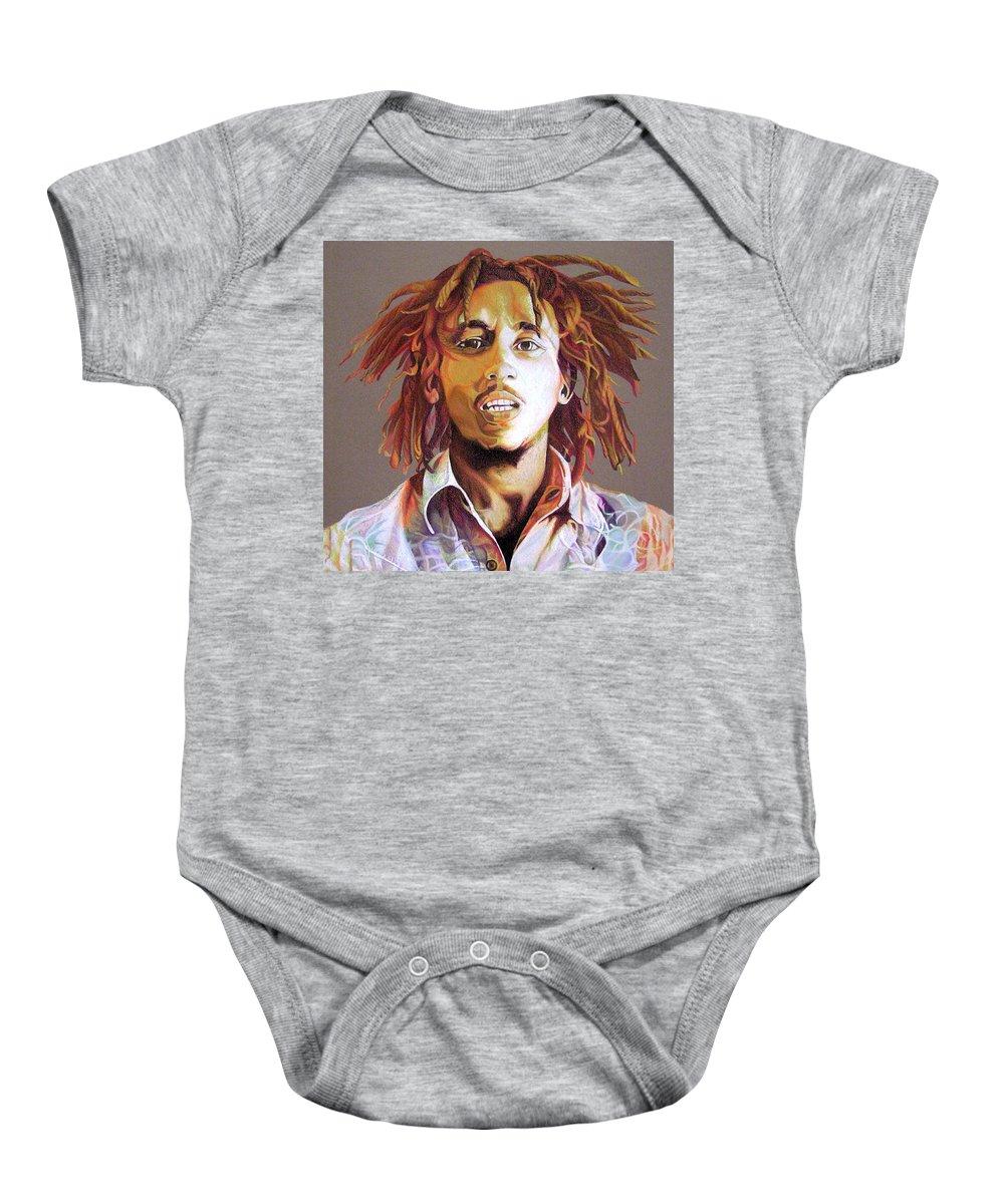 Bob Marley Baby Onesie featuring the drawing Bob Marley Earth Tones by Joshua Morton
