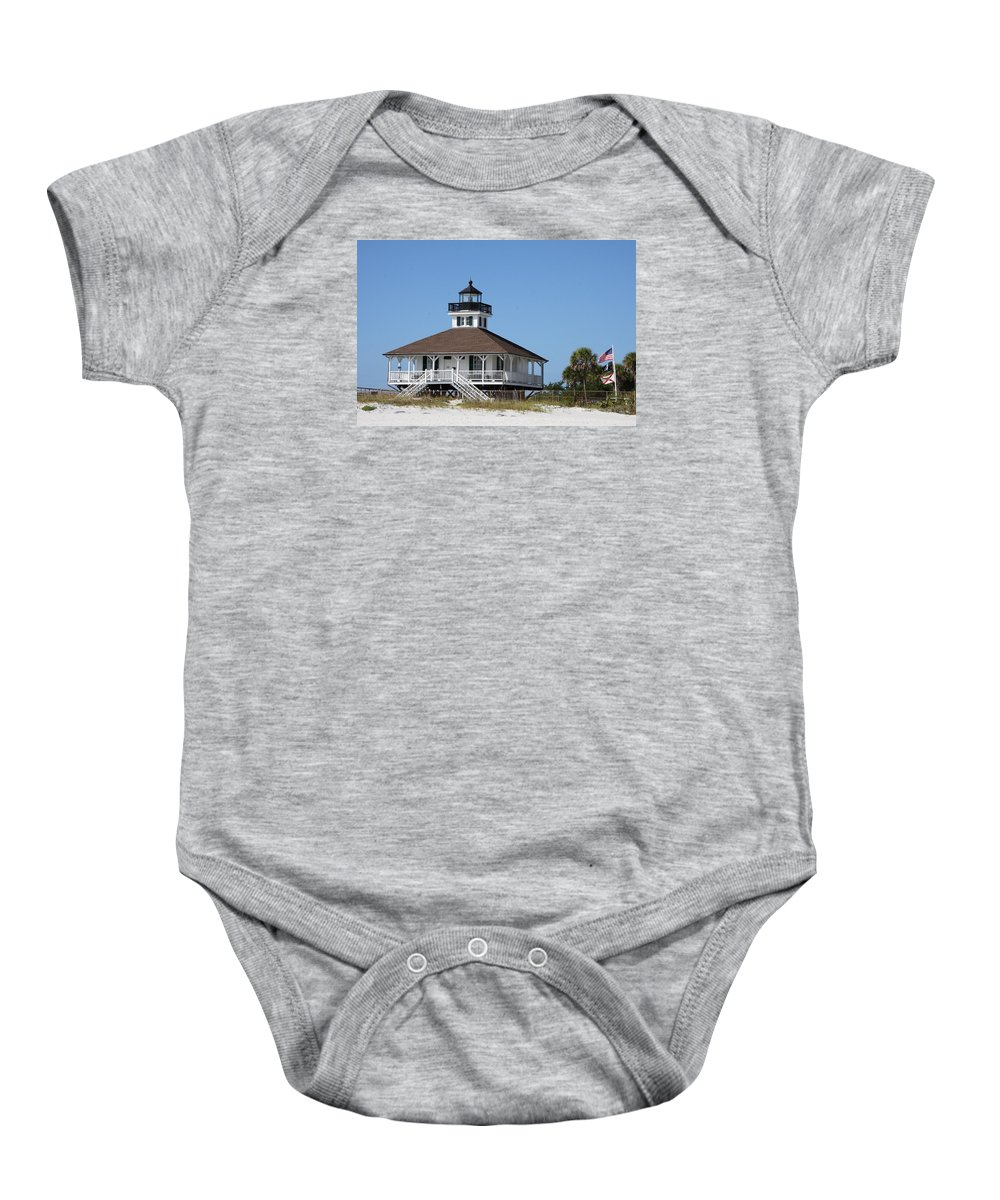 Port Boca Grande Lighthouse Baby Onesie featuring the photograph Boca Grande Light by Christiane Schulze Art And Photography