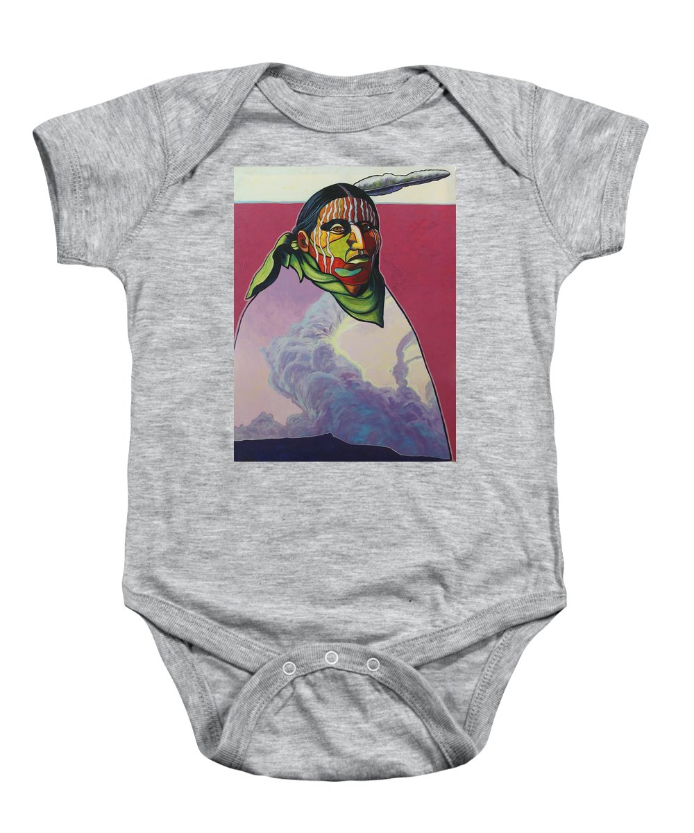Native American Indian Baby Onesie featuring the painting Body And Soul by Joe Triano