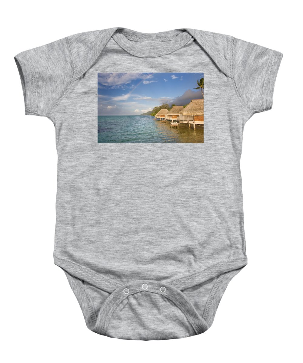 Above Baby Onesie featuring the photograph Bora Bora Rainbow by M Swiet Productions